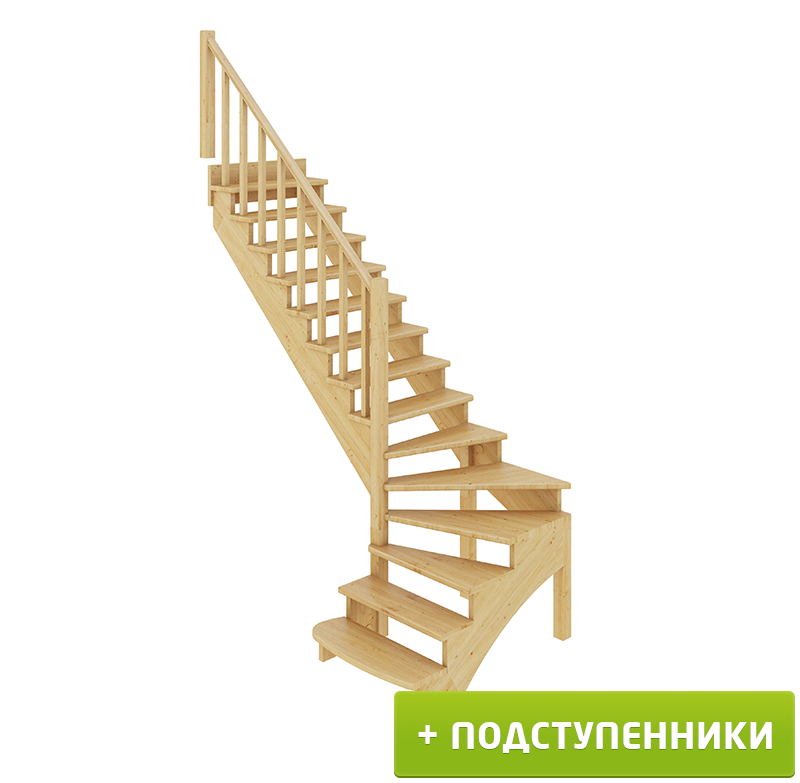 Лестница   К-001м/1 Л c подступенками сосна (6уп)